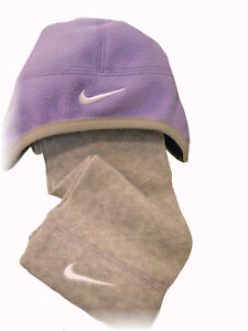 New Nike Fleece Hat & Scarf Set Lilac and Grey With Nike Bag Age 3-4 Years (XS)