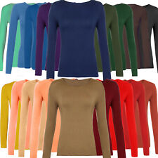 Womens Lady Stretch Long Sleeves Plain Round/V Neck T-Shirt Top Casual S-3XL Lot