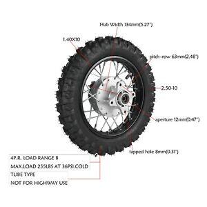 REAR STEEL RIM WHEEL TIRE 2.50X10 DRUM BRAKE For Honda XR50 CRF50 STOCK 2.50-10