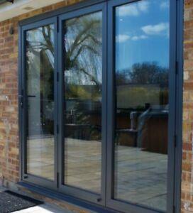 Alutec, Quality Aluminium Bi fold Doors inc Glass 3 panels.