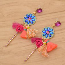 Women Rhinestone Flower Drop Tassel Earrings Ear Studs Dangle Boho Jewelry Chic