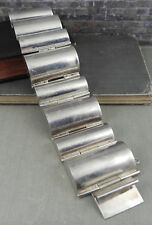 Modernist Mexico 925 Sterling Silver Wide Link Statement Bracelet