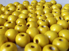 250 x YELLOW COLOUR ROUND WOOD BEADS 8mm = W0126