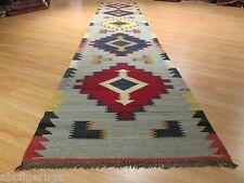 17 FEET Runner KILIM REVERSIBLE Geometric Vegetable Dye Flat-Weave Wool 582661