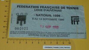 FEDERATION FRANCAISE TENNIS LIGUE AUVERGNE NATIONAL 1986 SC VICHY-BELLERIVE