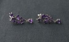 SOLID STERLING SILVER DESIGNER AMETHYST CLUSTER EARRINGS