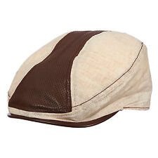 STETSON Leather & Oat Cotton Ivy-Driving-Cabbie-Newsboy-Golf Flat Cap-Tan Large