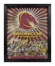 BRISBANE BRONCOS NRL LOGO LET'S GO BRONCOS LICENSED POSTER FRAMED FULLY GLASSED