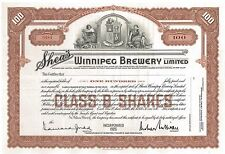 Shea's Winnipeg Brewery Ltd > 1926 Canada old stock certificate share