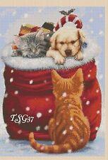 Christmas Cross Stitch Chart -  puppy & Kitten in stocking No 373 .TSG37