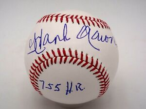 HANK AARON 755 HR SIGNED & INSCRIBED OFFICIAL MLB BASEBALL AUTOGRAPHED AUTO MINT