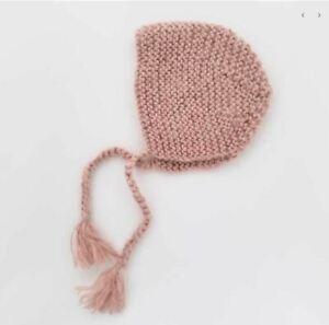 NWT Boutique Huggalugs Pink Angora Bonnet Size Newborn 100% Acrylic