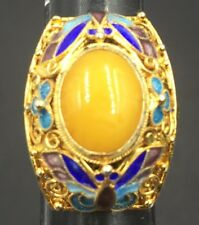 Vintage Chinese Yellow Butterscotch Amber Enamel Gilt Sterling Silver Ring Sz 7