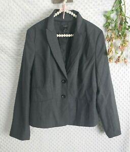 Ann Taylor Blazer 16 EUC Gray Wool Blend 2 Button Jacket Career Wear Womens