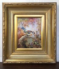 Original L. Richard Oil Painting Impressionism Bird & Berries in FABULOUS Frame!