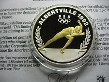 2 OZ 1992 OLYMPICS ALBERTVILLE SPEED SKATING CHRYSLER 999 SILVER GOLD COIN RARE
