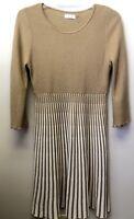 Calvin Klein Women's L Camel Tan Striped Fit Flare Rib Textured Sweater Dress