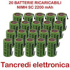 20 BATTERIA RICARICABILE NI-MH SC 1,2V 2200mAh 2,2Ah LAMELLE A SALDARE LINGUETTE