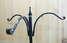 "Erva Wrought Iron 3 Arm Hanger 12"" Reach  for Bird Feeders Plants for 1"" Pole"
