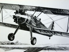 Stearman PT-17 Kaydet Biplane Bert Mader Signed Aviation Art With Bonus Print