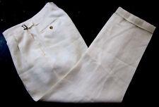 RALPH LAUREN Purple Label Ivory 100% LINEN Luxury Pleated Cuffed Pants 32 ITALY