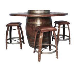 New Authentic Oak Wine Barrel Bistro Table Complete Set W/ 4 Stools W/ Leather