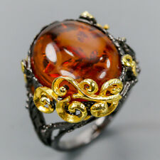 Handmade SET Natural Amber 925 Sterling Silver Ring Size 8/R121522