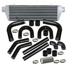 "Universal 2.5"" Inch Intercooler Bar And Plate U Piping Pipe Kit Black Chrome Jdm"