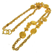 Authentic CHANEL Vintage CC Logos Gold Chain Pendant Necklace Accessories T04121