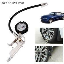 Lock On Chuck Flexible Hose Tire Inflator with Air Pressure Gauge Pistol #B