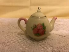"3"" Kurt Adler Pink Roses Porcelain Tea Pot Christmas Ornament"