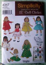 "Simplicity 18"" Doll Clothes Pattern - Dress Cape Pjs - 4347 - 2005 Nrfp"