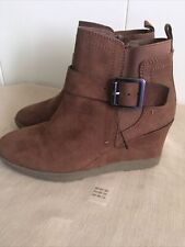 "Ladies Brown Suede Wedge Boots By""MARKS & SPENCER"" size 3uk(New)"