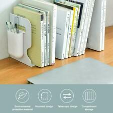 1x Retractable Bookend Stands Multifunction Book Folder Bookshelf W Pen Holders