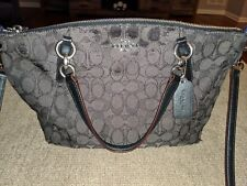 Coach Zip Top Signature Authentic Purse Handbag - Black Smoke
