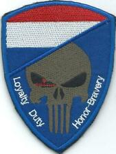 "PATCH ROYAL NETHERLANDS ARMED FORCES  PUNISHER ""LOYALTY, DUTY, HONOR & (VELCRO)"