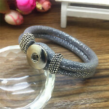 DIY Handmade Leather Bracelets Drill Fit For Noosa Snaps Chunk Charm Button XY33