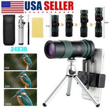 4K 8-24X30mm Super Telephoto Zoom Monocular Telescope W/ Tripod & Clip Set Usa