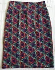 New Lularoe Cassie skirt Large Green Purple Orange Blue Triangle Shapes