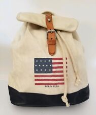 Vintage Ralph Lauren Polo USA Flag Canvas Leather Drawstring Bucket Backpack