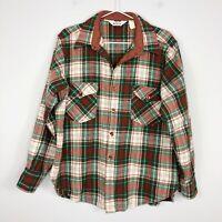 Vintage Woolrich Green Brown Plaid Wool Button Shirt Top Women's XL Men's Medium