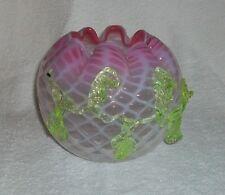 Bohemian Glass Lattice Rose Bowl w Applied Vaseline Glass Rigaree Pink/White