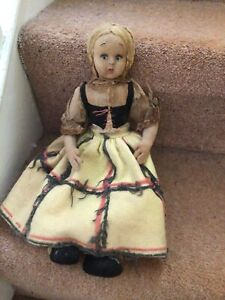 Antique Very Old Material And Felt Straw Filled Doll-Lenci Style Look.