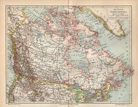 Britisch Nordamerika Alaska Kanada Canada Canadian  historische Landkarte 1899