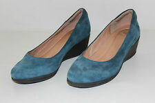 FREE SHIPPING Nurture Womens Size 6 M Blue Leather Wedges High Heels Shoes NICE