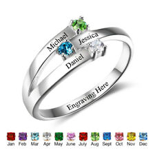 Family Personalized Ring Jewelry Custom Name Birthstone 925 Sterling Silver Ring