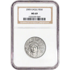 2005 American Platinum Eagle 1/2 oz $50 - NGC MS69