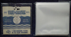 100 Clear 2.5 mil ARCHIVAL Poly SLEEVE Pack for VIEW-MASTER Reel in Paper Sleeve