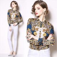 2019 Spring Summer Fall Floral Print Collar Women Long Sleeve Top Shirt Blouse