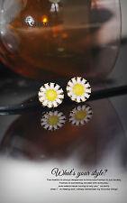 Boucles d`Oreilles Clips Doré Puces Petit Rond Fleur Marguerite Jaune Blanc J2